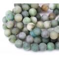 Matte African Jade Beads, Natural Medium Green, 10mm Round