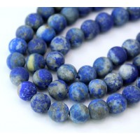 Matte Lapis Lazuli Beads with Veins and Inclusions, 10mm Round