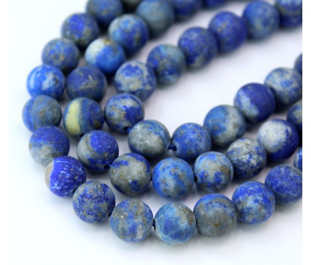 Matte Lapis Lazuli Beads with Veins and Inclusions, 8mm Round