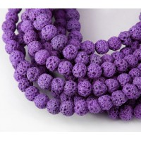 Lava Rock Beads, Purple, 4mm Round