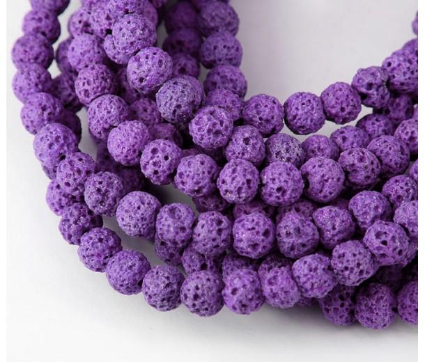 Lava Rock Beads, Purple, 4mm Round