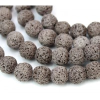 Lava Rock Beads, Grey Brown, 8mm Round