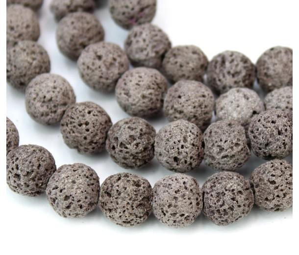 Lava Rock Beads, Grey Brown, 8mm Round