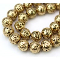 Lava Rock Metalized Beads, Gold, 12mm Round