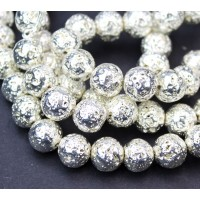 Lava Rock Metalized Beads, Bright Silver, 10mm Round
