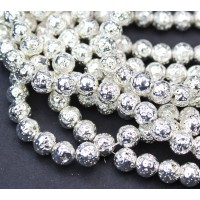 Lava Rock Metalized Beads, Bright Silver, 6-7mm Round