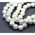 Lava Rock Metalized Beads, Bright Silver, 8-9mm Round, 15 Inch Strand