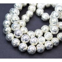 Lava Rock Metalized Beads, Bright Silver, 8-9mm Round