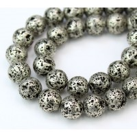 Lava Rock Metalized Beads, Antique Silver, 10mm Round