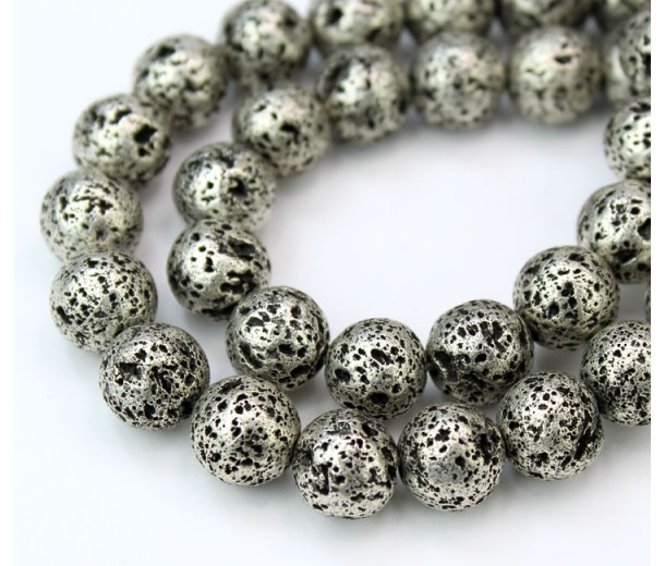 Lava Rock Metalized Beads, Antique Silver, 10mm Round, 15 Inch Strand
