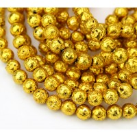 Lava Rock Metalized Beads, Dark Gold, 6-7mm Round