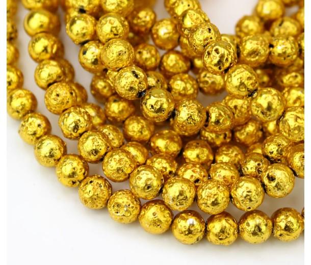 Lava Rock Metalized Beads, Dark Gold, 6-7mm Round