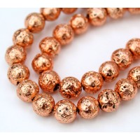 Lava Rock Metalized Beads, Bright Copper, 8mm Round