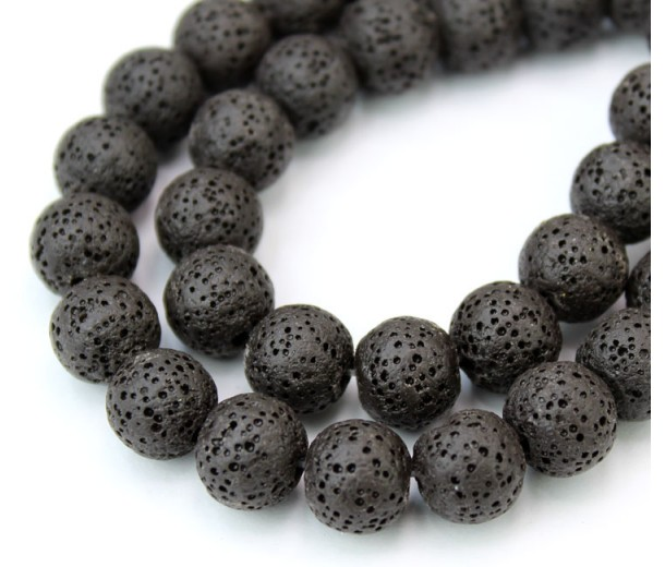 Lava Rock Smooth Beads, Black, 10mm Round