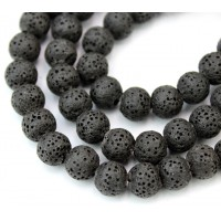 Lava Rock Smooth Beads, Black, 8mm Round