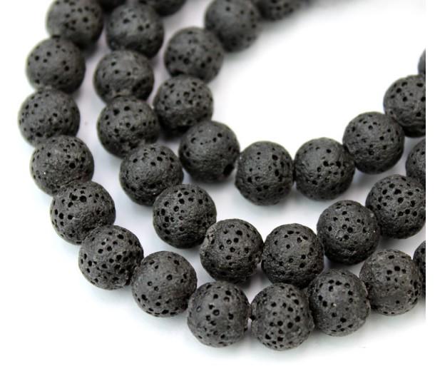 Lava Rock Smooth Beads, Black, 8mm Round