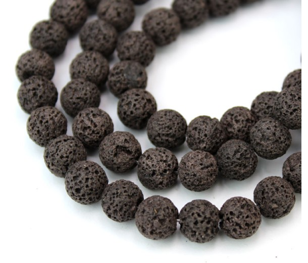 Lava Rock Beads, Chocolate Brown, 8mm Round