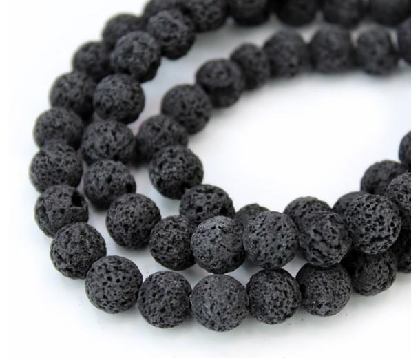 Lava Rock Beads, Dyed Black, 8mm Round