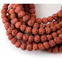 Lava Rock Beads, Brick Red, 6mm Round