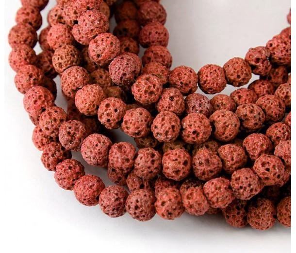 Lava Rock Beads, Brick Red, 6mm Round