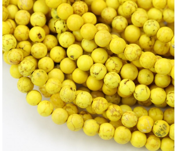 Magnesite Beads, Yellow, 6mm Round