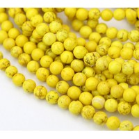 Magnesite Beads, Yellow, 6mm Round