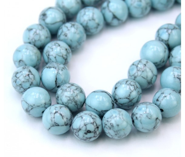 Magnesite Beads, Pastel Blue, 10mm Round