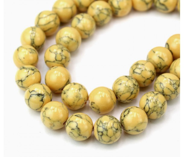 Magnesite Beads, Honey Yellow, 8mm Round