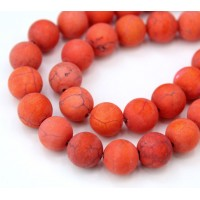 Matte Magnesite Beads, Orange, 10mm Round