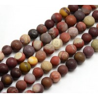 Matte Mookaite Beads, Natural Multicolor, 8mm Round