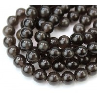 Ice Obsidian Beads, Dark Grey, 8mm Round