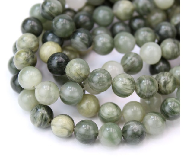 Green Rutilated Quartz Beads, Natural, 8mm Round