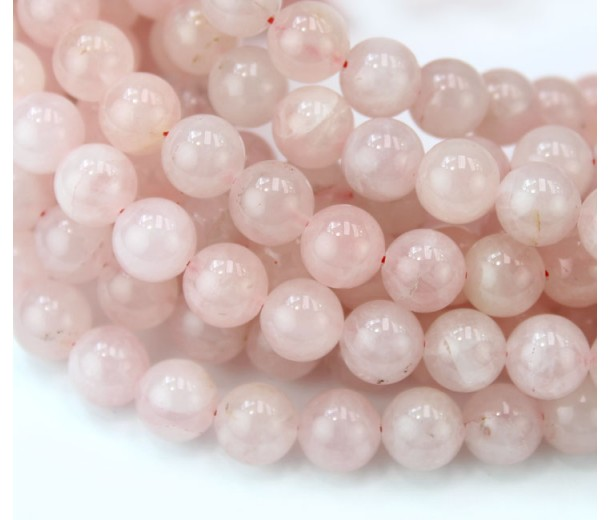 Rose Quartz Beads, Natural, 8mm Round