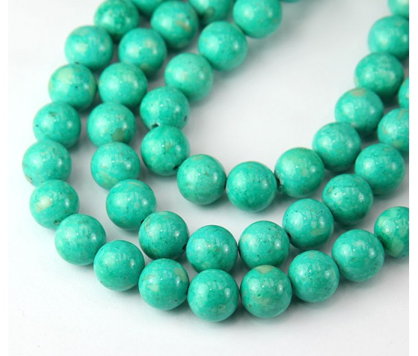 River Stone Jasper Beads, Teal Green, 8mm Round