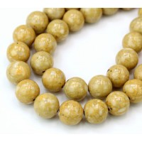 River Stone Jasper Beads, Light Yellow, 8mm Round