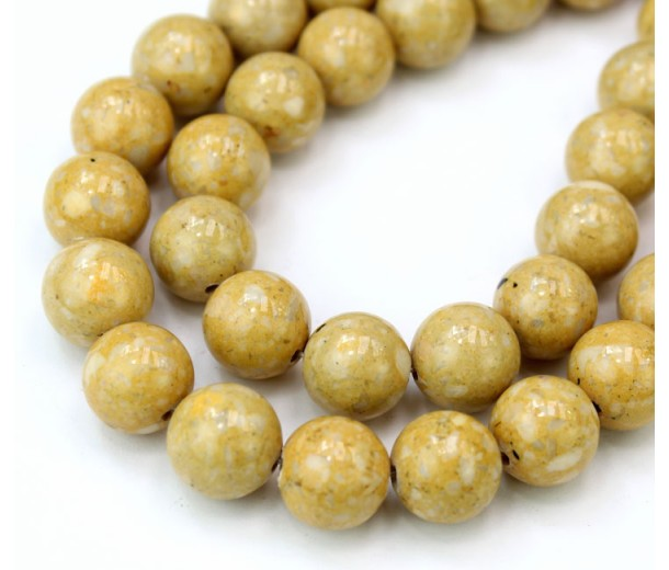 River Stone Jasper Beads, Light Yellow, 10mm Round