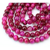 Tiger Eye Beads, Fuchsia, 6mm Round