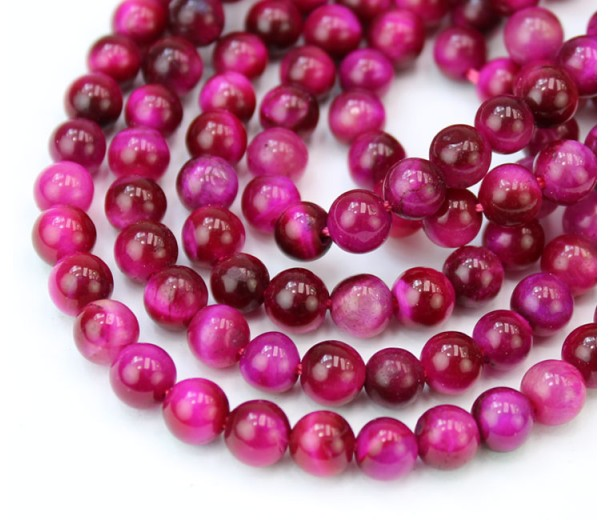 Tiger Eye Beads, Fuchsia Pink, 6mm Round
