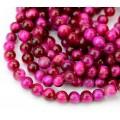 Tiger Eye Beads, Fuchsia Pink, 6mm Round, 15 Inch Strand
