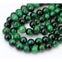 Tiger Eye Beads, Green, 6mm Round