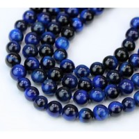 Tiger Eye Beads, Midnight Blue, 6mm Round