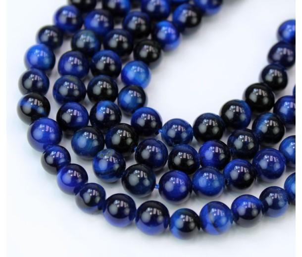 Tiger Eye Beads, Midnight Blue, 6mm Round