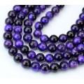 Tiger Eye Beads, Dark Purple, 6mm Round