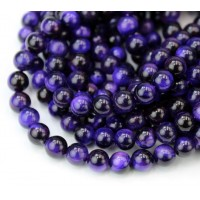 Tiger Eye Beads, Dark Purple, 6mm Round
