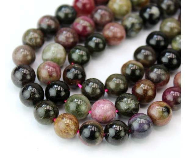 Tourmaline Beads, Multicolor, 8mm Round