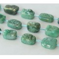 Agate Beads with Druzy, Green, Large Nugget