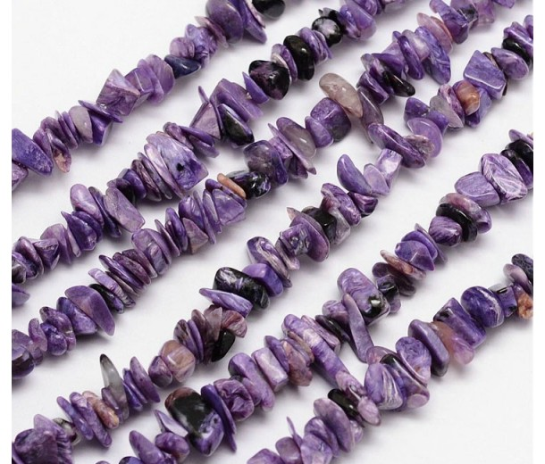 Charoite Beads, Natural, Large Flat Chip