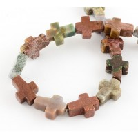 Indian Agate Beads, Natural, 16x12mm Flat Cross