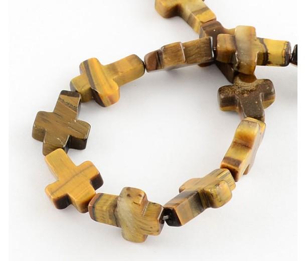 Tiger Eye Beads, Natural, 16x12mm Flat Cross
