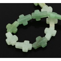 Aventurine Beads, Green, 16x12mm Flat Cross